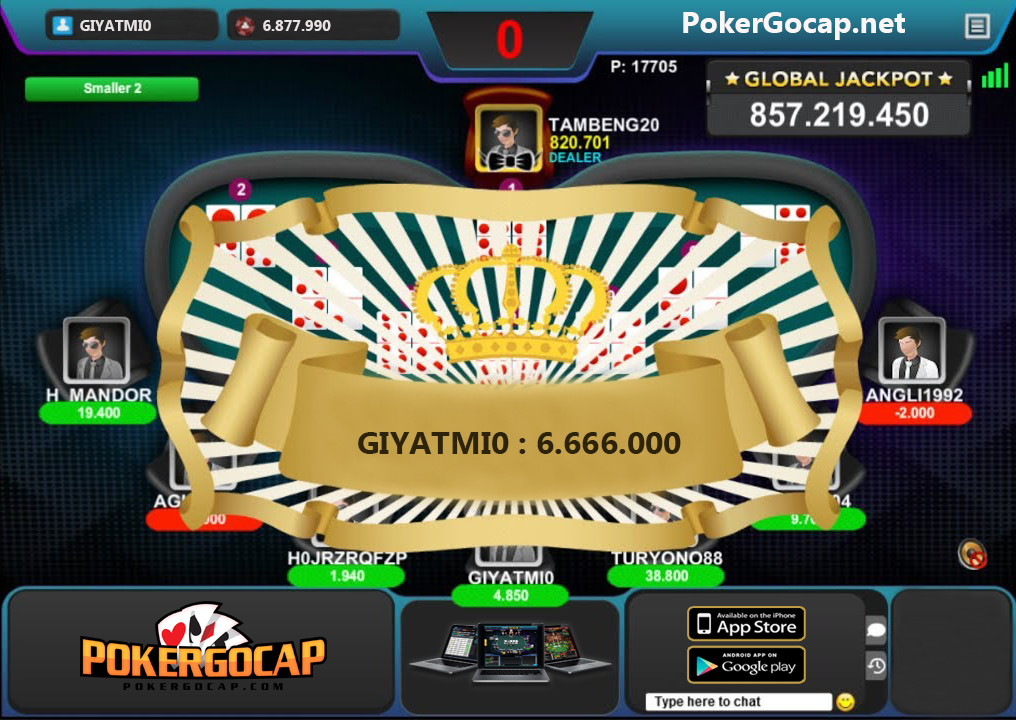 jackpot enam dewa di pokergocap
